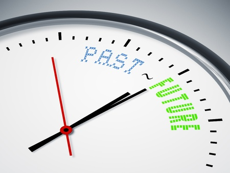 An image of a nice clock with past - future Stock Photo