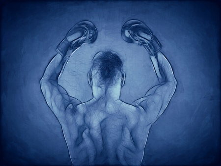 An image of a muscular boxer in blue photo