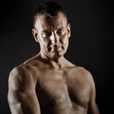 'dark ages': An image of a muscular middle age man