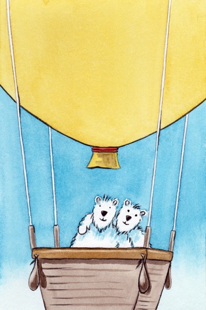 An image of a hot air balloon with two bears photo