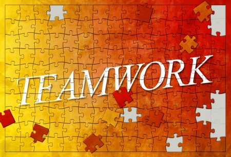 An image of an unfinished teamwork puzzle photo