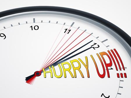 hurry up: L'immagine di un orologio bello con affrettatevi! Archivio Fotografico