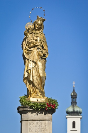 holy mary: The beautiful golden Maria Statue in Tutzing Bavaria Germany Stock Photo