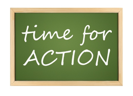 An illustration of a chalk board with time for action Stock Illustration - 9874931