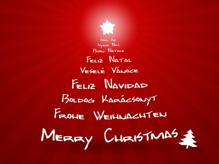 An image of merry christmas in different languages photo