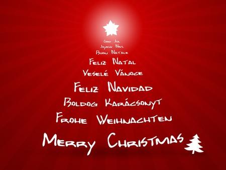 translate: Una imagen de feliz Navidad en diferentes idiomas Foto de archivo