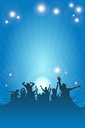 disco dancer: dancing happy people having fun background in blue