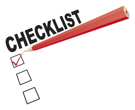 check symbol: An image of a checklist with a red pencil