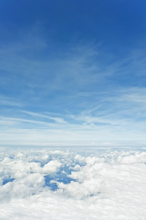 clean air: An image of a flight over the clouds