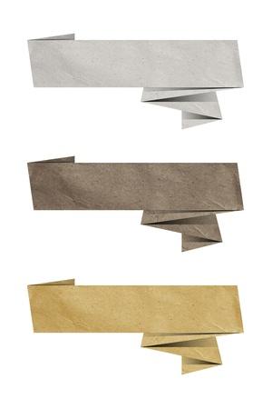 paper craft: tres elegantes Origami papel elementos de diseño para el contenido Foto de archivo