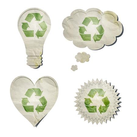 reciclaje de papel: Una imagen de algunos adhesivos de reciclaje con estilo