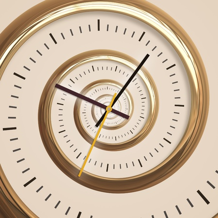 An image of a golden droste spiral clock photo