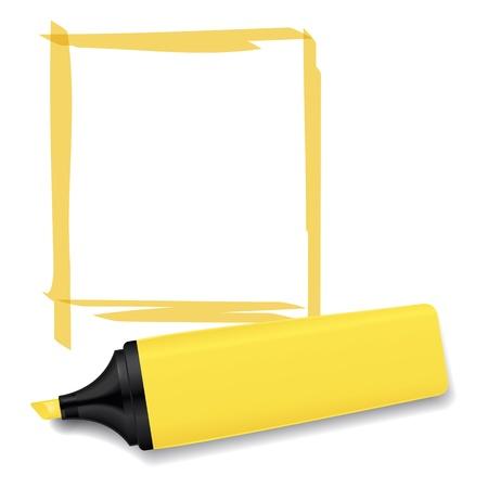 Una imagen de un marcador de texto amarillo neón Foto de archivo