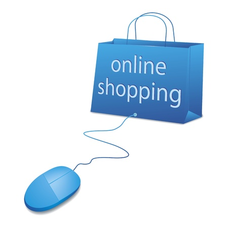 An image of online shopping in blue photo