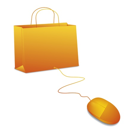 An image of online shopping in orange photo