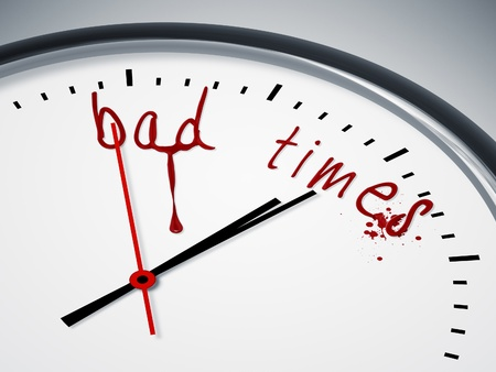 bad times: a nice clock with bad times and blood