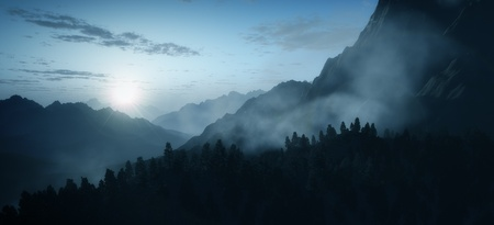 early fog: An image of an early morning mountain sunrise
