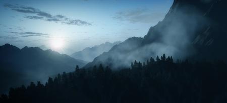 Una imagen de un amanecer de montaña de madrugada