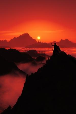 paisaje vintage: Una imagen de la fantas�a de un hombre mirando a la ciudad a lo largo y la puesta de sol en rojo Foto de archivo