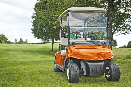 golf cart: An image of a orange golf car in the green