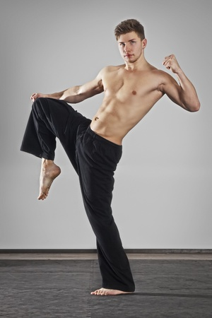 martial artist: An image of a handsome young fighter