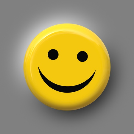 celebration smiley: An image of a nice smile on yellow background Stock Photo