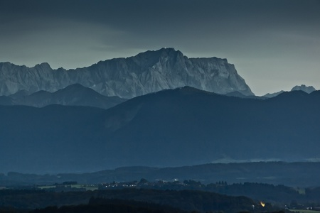The Zugspitze in Bavaria Germany by night Stock Photo - 10505257