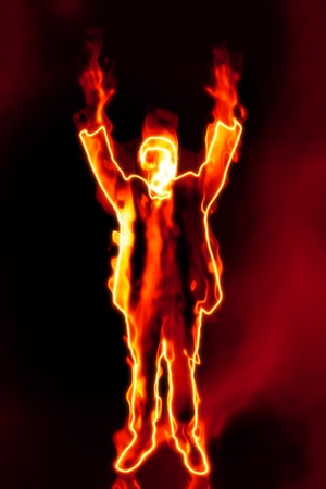 under fire: Una imagen de un s�ndrome de burnout de hombre de negocios
