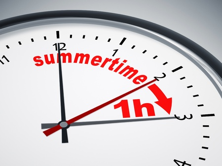 An image of a nice clock with summertime 1h Stock Photo - 10523910