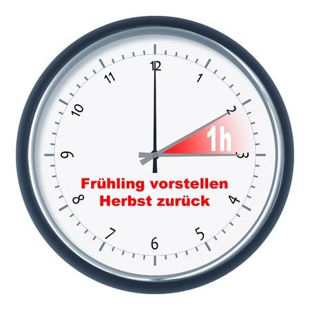 An image of a clock Frühling vorstellen - Herbst zurück Stock Photo