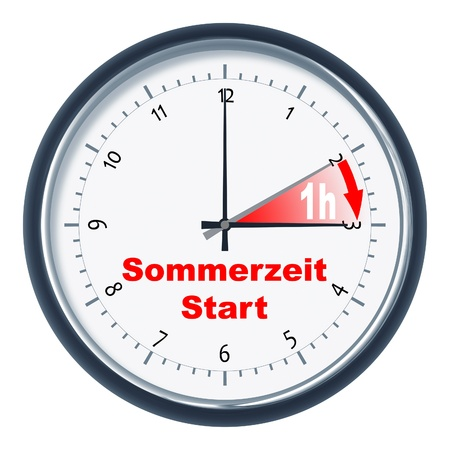 An image of a nice clock Sommerzeit Start Stock Photo