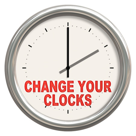 clockwise: An image of a nice clock with change your clocks