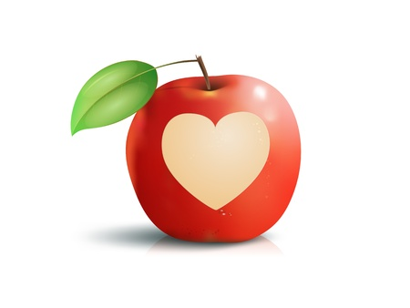 An image of a beautiful red apple with a heart photo