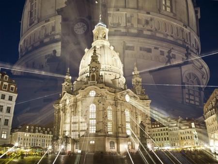 frauenkirche: Der ber�hmte Frauenkirche in Dresden Deutschland bei Nacht mit einem zoom