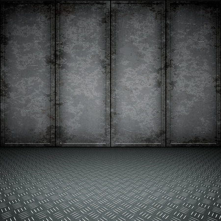 abandoned factory: An image of a dark steel floor for your content Stock Photo