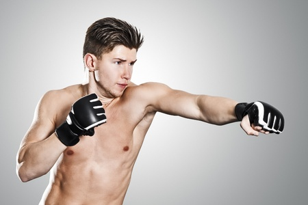 battle: An image of a boxing young man