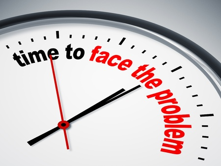 up time: An image of a nice clock with time to face the problem