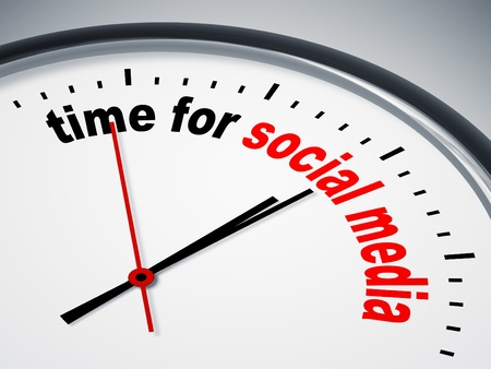 new media: An image of a nice clock with time for social media Stock Photo