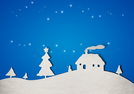 a nice blue christmas landscapes paper background Stock Photo - 10971277