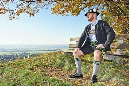 A traditional bavarian man in the autumn nature Stock Photo - 11029799