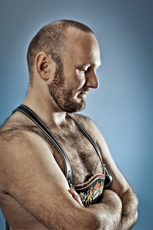 An image of a hairy man with a beard photo