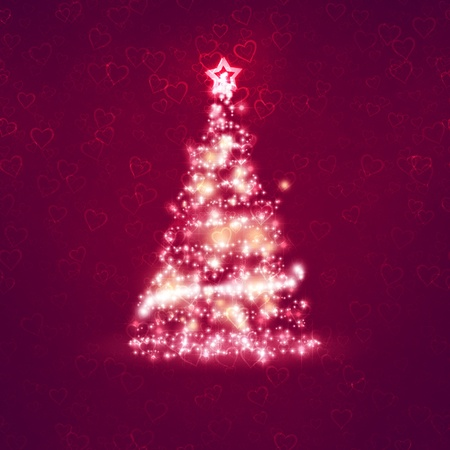 An image of a nice red christmas background with hearts photo