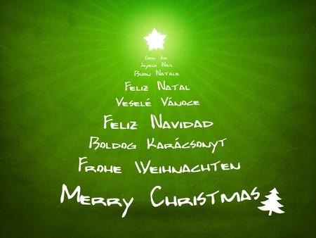 feliz: L'immagine di una bella carta verde Natale Archivio Fotografico