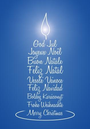 Une image d'un joli bleu bougie salutation de Noël