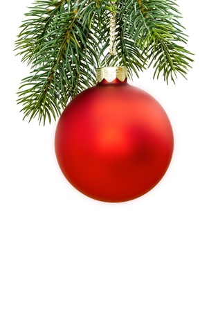 ribbons hang: An image of a nice red christmas ball Stock Photo