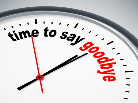say: An image of a nice clock with time to say goodbye Stock Photo