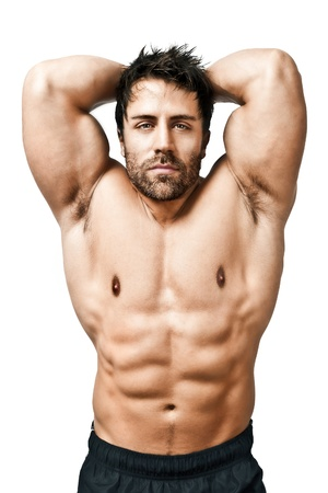 hombre fuerte: Una imagen de un apuesto joven deportes muscular