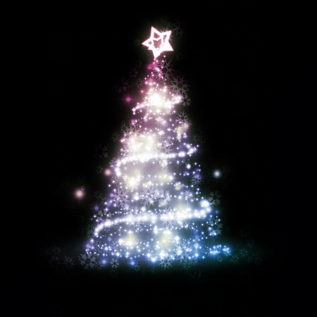 An image of a nice red blue christmas tree photo