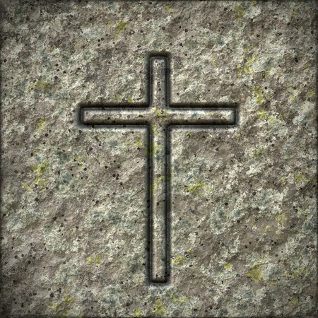 symbolic cross: An image of a stone texture with a cross Stock Photo
