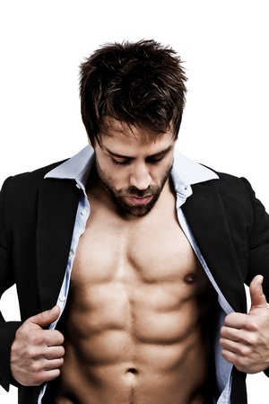 white body suit: An image of a handsome young muscular sports man Stock Photo